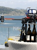 Champagne delivery via drone at Casa Madrona Mansion